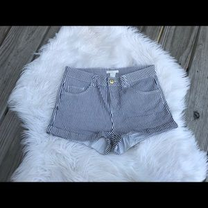 H & M White and Blue Striped Jean Shorts